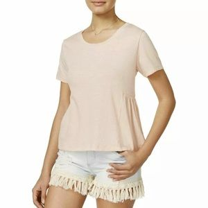 American Rag Distressed Peplum Top Peach Small NWT